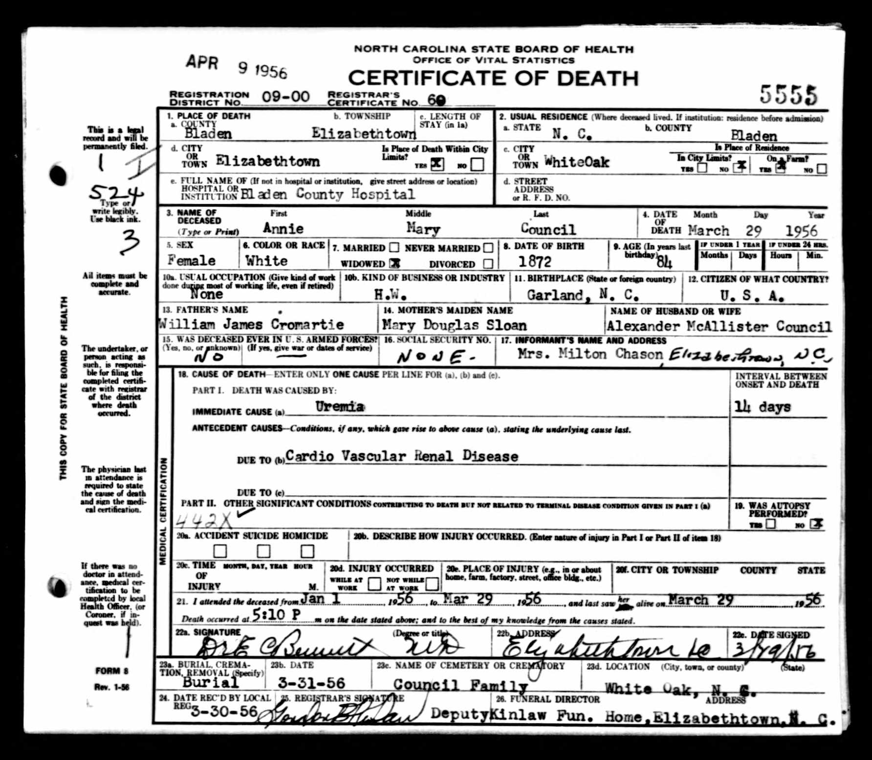 Documents Anna Mary Cromartie Council Death Certificate Adkins