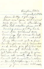 1932 Letter from Phoebe Bishop to daughter, Betty & family