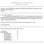 Ship Brittannia 1731 - Excerpt from List of Passengers